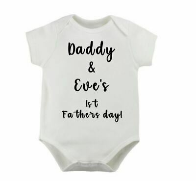 Personalised 1st Fathers Day Name Cute Daddy Babygrow Bodysuit Funny 0 3 6 9 12