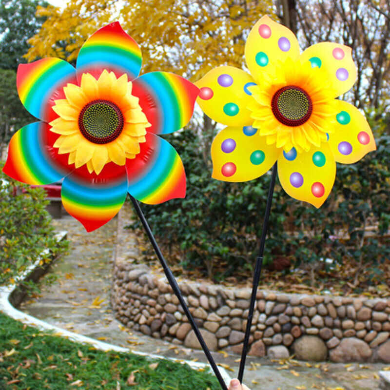 Large Colorful Sunflower Windmill Toy Kids Outdoor Activities Toy Garden D.cAPU
