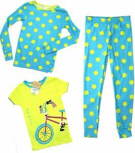 3d61fa867fd5 CARTERS Girls 3 Piece PYJAMAS Set BLUE LIME Sleepwear PJs Bicycle ...