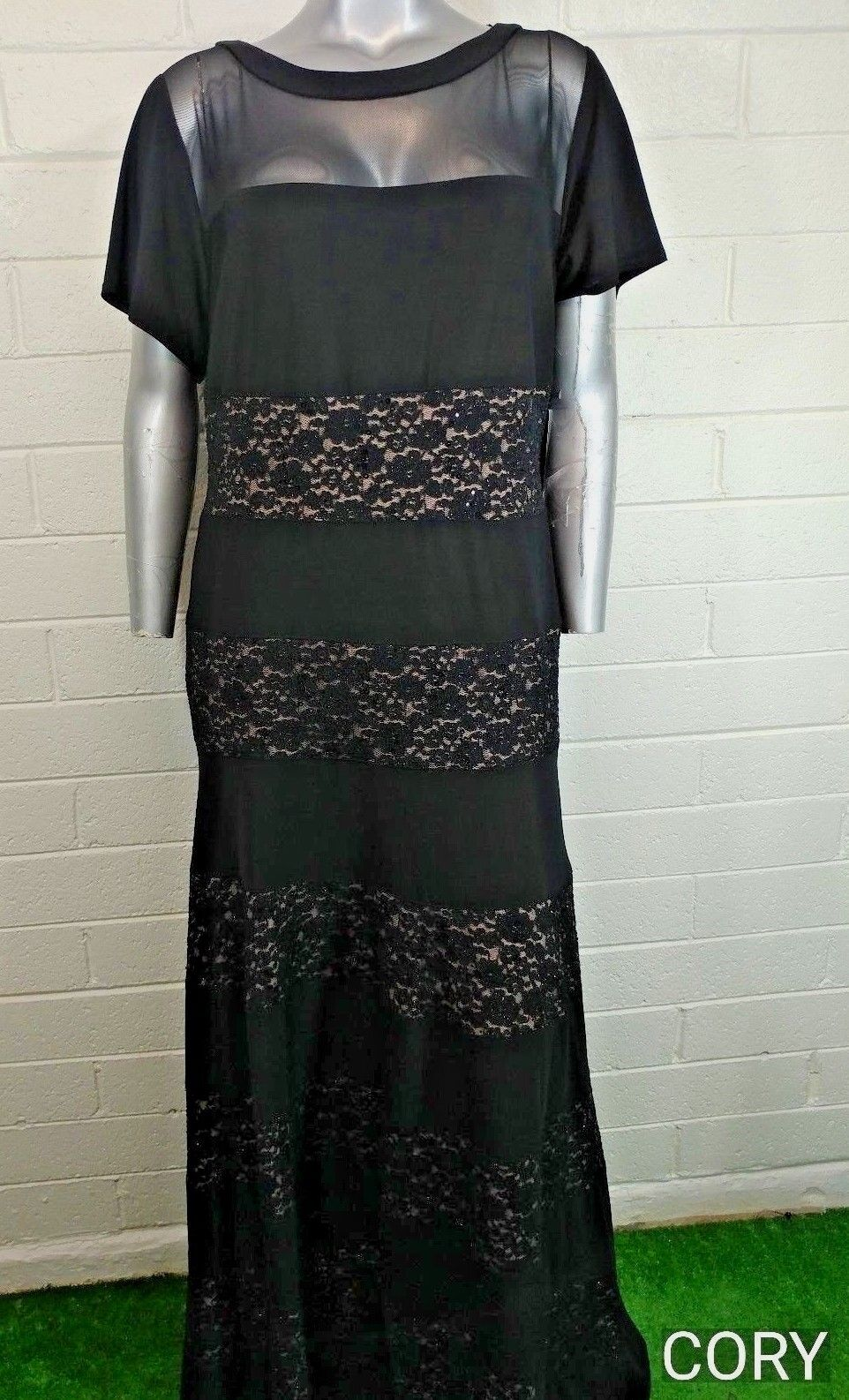 Plus women's R&M RICHARDS DRESS Size 22W OCCASION embellished lace tulle NWT