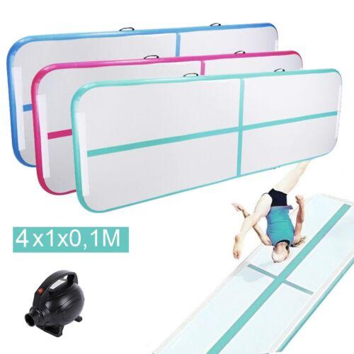 4M Turnmatte Air Tumbling Track Aufblasbare Matte Gymnastikmatte Eletropumpe