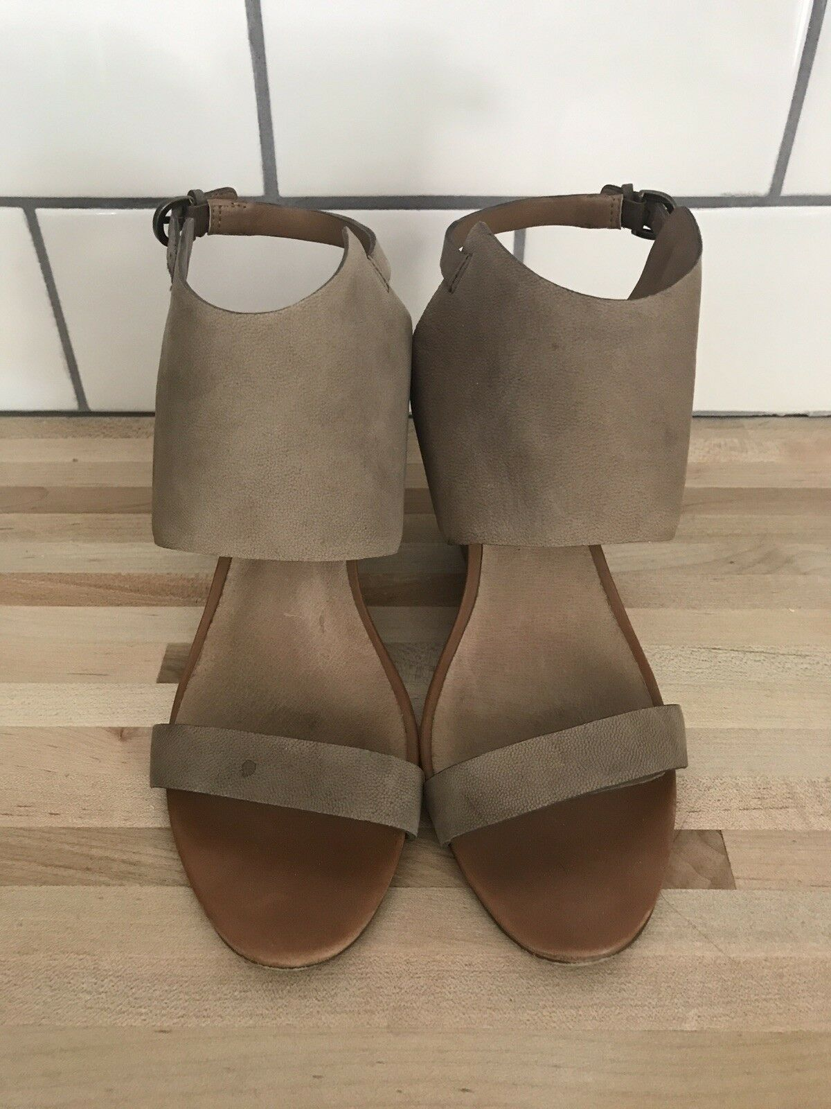 Nordstrom Halogen Womens Leather Taupe Open Toe Wedge Sandals Size 8.5
