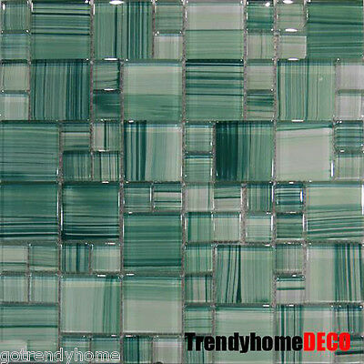 1 SF- Green Hand Crafted Pattern Glass Mosaic Tile Kitchen Backsplash Bath Spa
