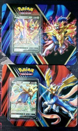 EMPTY Tins for Storage Pokemon Legends of Galar Zazian V 018 /& Zamazenta V 019