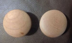 "(2) CHERRY Wood  Round Knobs, 1-1/4"" With 3/4"" Base."