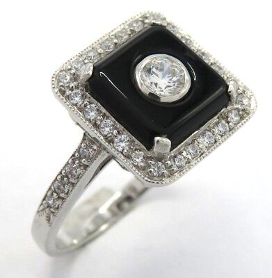 Art Deco Ring Onyx & Cz925 Sterling Silver Ø 0 11/16in Convenient To Cook Fine Rings Jewelry & Watches