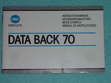 Manual de instrucciones-operating instructions-Minolta data back 70