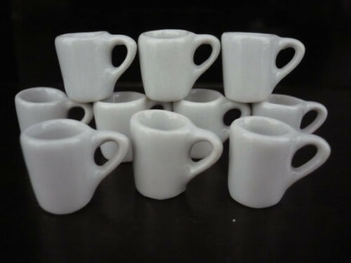 10 White Ceramic Coffee Mug Dollhouse Miniatures Supply Deco