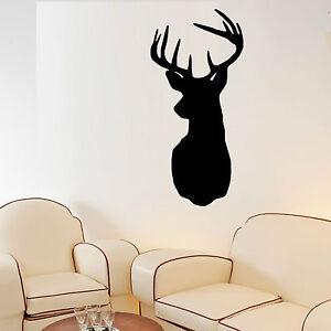 STAG HEAD wall art vinyl room decal decorative STAGS DEER head ...