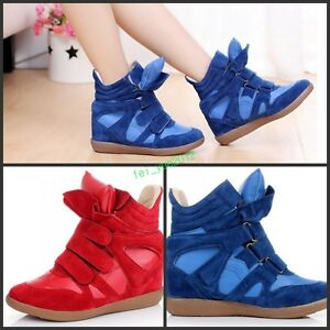 hot fashion Womens High Top Wedge Hidden Heels Ankle Boots Sneaker Shoes