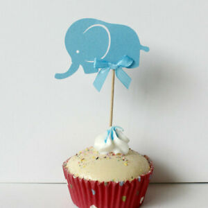 10x Cake Toppers Blue Pink Elephant Baby Shower Cupcake Toppers Kid
