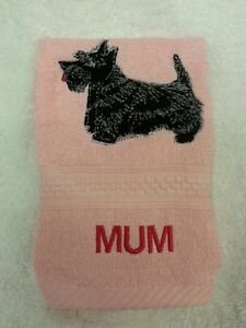 Scottish Terrier Scottie Dog Bath Hand Towel Set EMBROIDERED Personalized Gift