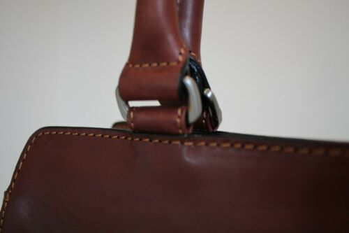Tony Perotti Italian Vegetale Leather Handbag Shoulder Bag Brown TP8121