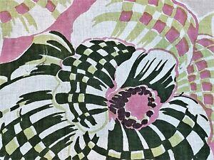 SALE-Hawaiian-ORCHIDS-Hand-Print-Barkcloth-Era-Vintage-Fabric-Ydge-40s-DIY-Home