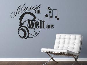 Wandtattoo Musik Spruche Musik An Welt Aus Nr 1 Wand Tattoos Musiksticker Ebay