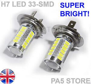 2x-Bombillas-LED-H7-33-SMD-5630-10W-Xenon-Blanco-6000K-Lampara-Luz-Antiniebla-para-Coche-12V-Reino