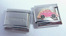 PINK CAR 9mm Italian Charm + 1x Genuine Nomination Classic Link LOVE BUG BEETLE