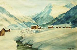 Guenard-Xx-Aquarell-Originell-Unterzeichnet-und-Datiert-Landschaft-Berg-Snow