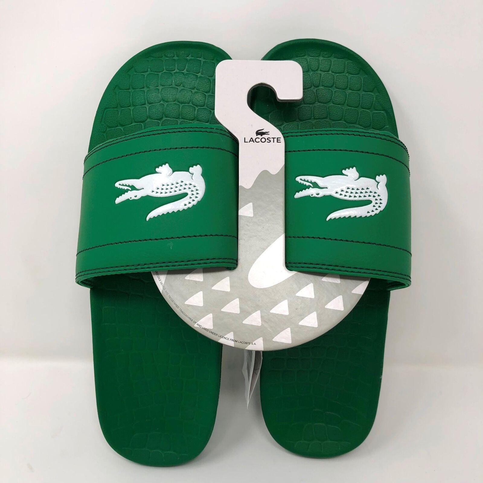 NWT Lacoste Mens Fraisier Slides Flip Flops Sandals Green Crocodile Logo Size 10