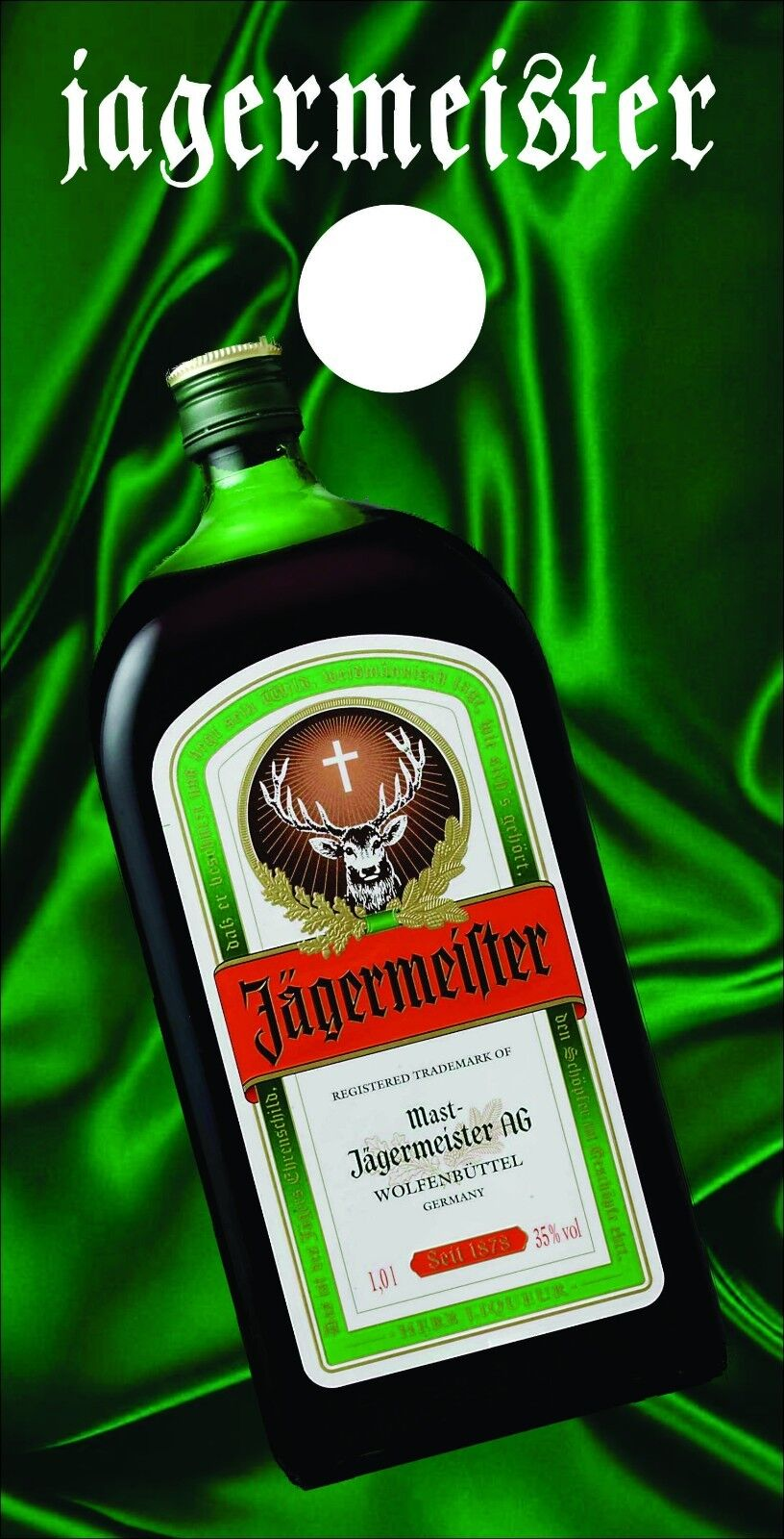 Corn Hole  Graphic- Jagermeister Bottle on Green Silk (Single Graphic)  authentic quality
