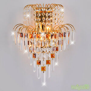 Modern golden crystal wall lamp wall sconce light bedroom lighting image is loading modern golden crystal wall lamp wall sconce light aloadofball Gallery