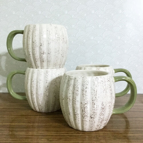Pumpkin Speckled Coffee Mug Set 4 Ceramic 14 oz Fall Autumn Thanksgiving Figural