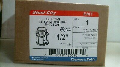 "Thomas /& Betts TC221SC-50CP 1//2/""EMT Connector 100 Piece Lot Steel City"