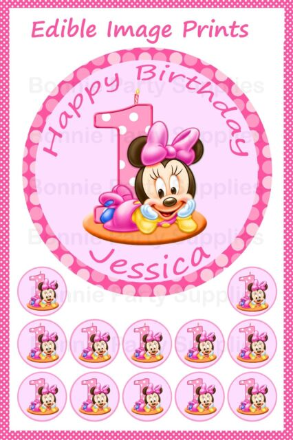 Swell Minnie Mouse 1St Birthday 19Cm Personalised Cake Topper Plus 12 Funny Birthday Cards Online Alyptdamsfinfo