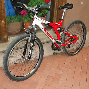 SPECIALIZED-ROCKHOPPER-FSR-RED-PEARL-WHITE-SM-MEDIUM-FULL-SUSP-BICYCLE-FOX-DEORE