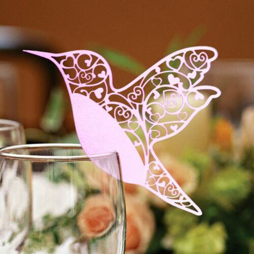 Hummingbird Wedding Name placeholders for Laser Cut Wine Glass pearlised