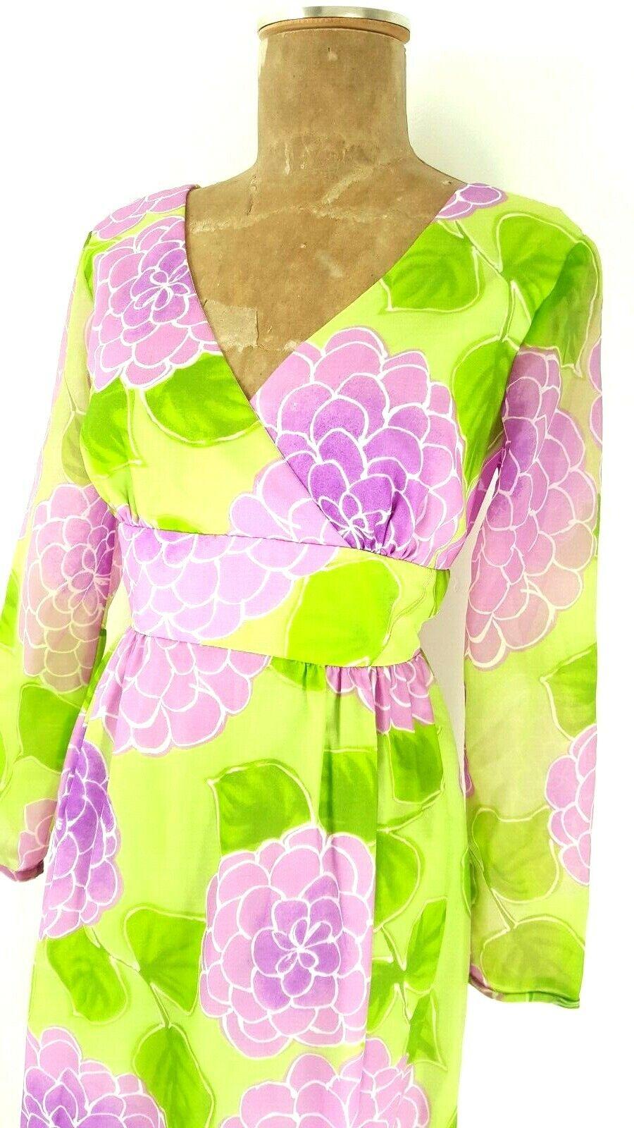 Vintage 60s Malia Honolulu Dress Size Medium Empi… - image 5