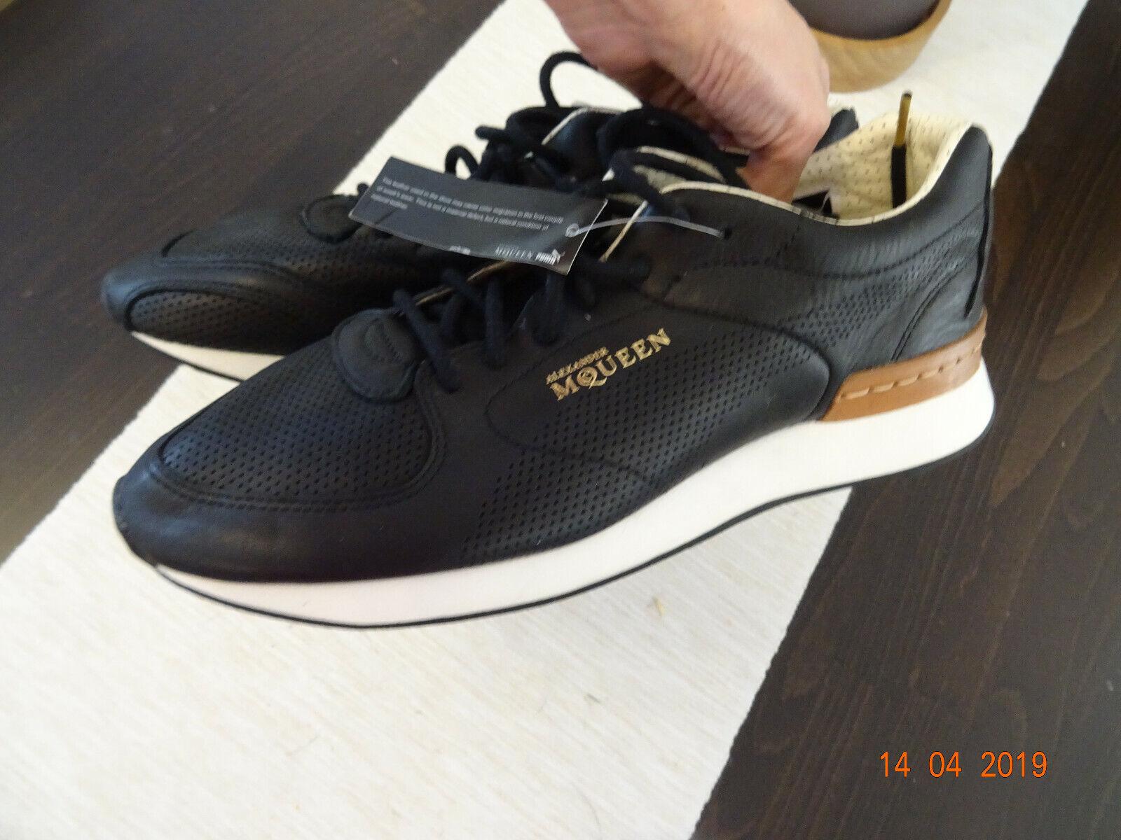 Puma Alexander Mqueen Designer Turnschuhe Sportschuhe schwarz Leder 42 UK8 US9  NEU