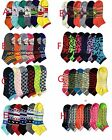 6, 12 Pairs Women Mamia Multi color Fancy Design Ankle / Low cut Socks Size 9-11