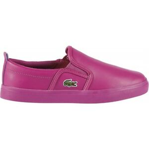 8a4076c1e Details about Lacoste Kids Girls NEW Gazon Slip On Leather Flats Casual Shoes  Sneakers Purple