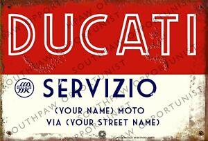Vintage Retro Personalised DUCATI Membership Medium Sized Metal Tin Sign Italian