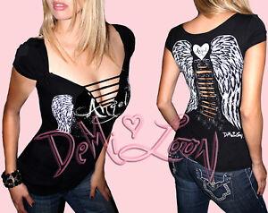 Sexy-Angel-Wings-Tattoo-Ladies-Biker-Tee-Slashed-Gothic-Grraphic-Punk-T-Shirt
