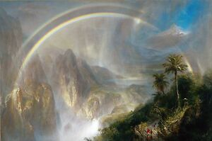 "1866- Frederic Church, Rainy season Tropics,antique, rainbow, 24""x16"" CANVAS ART"