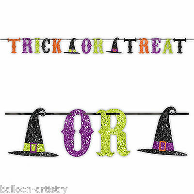 Halloween Glitter Witch Party TRICK OR TREAT Ribbon Banner Garland Decoration