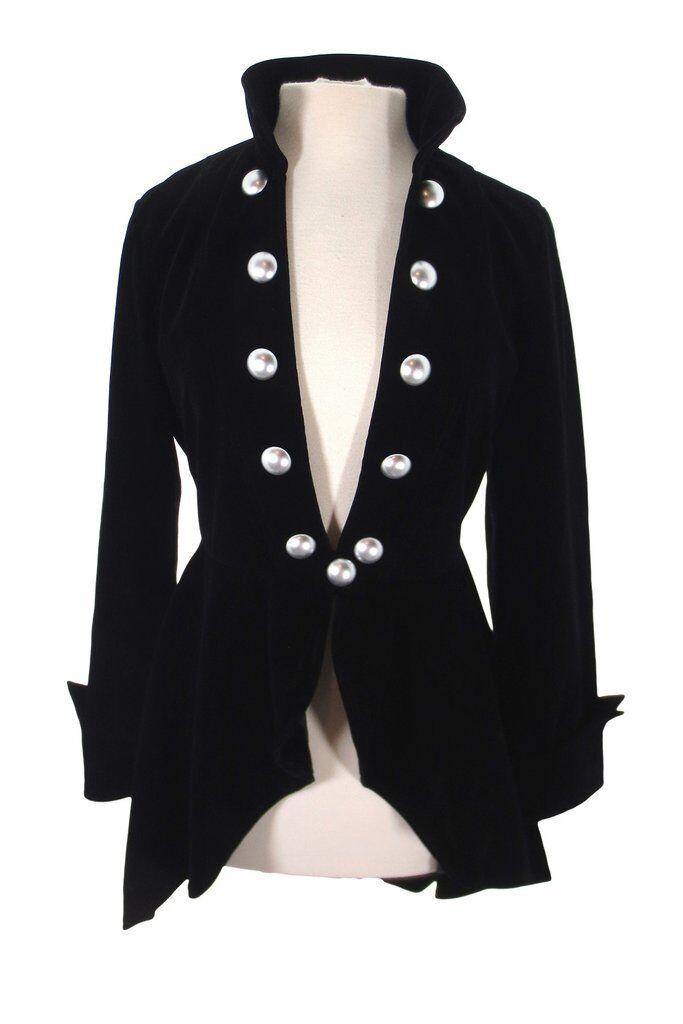 Gothic Victorian Steampunk Renaissance Military Style Asymmetry Velvet Jacket