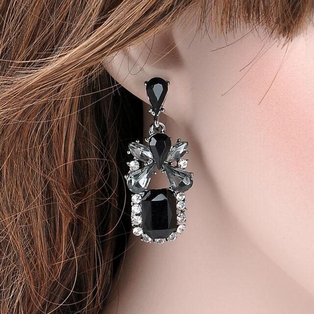 Women Black Crystal Jewelry Dangle Ear Studs Earrings Elegant Wedding Party Gift