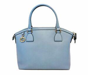 Gucci-DAMEN-GG-Charme-blau-Leder-Medium-Cabrio-Dome-Bag-449651