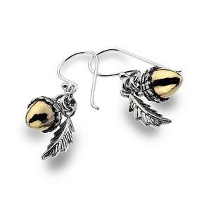 Fallen Acorn Earrings Sterling Silver 925 Hallmarked Gold Detail Drops