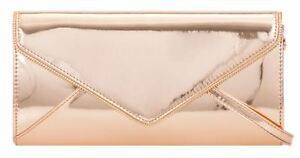 af134fe2a44 Image is loading New-Rose-Gold-Oversized-Patent-Faux-Leather-Clutch-