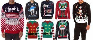 Para-Hombre-Sueter-De-Punto-Navidad-Novedad-Reno-Azteca-Navidad-Punto-Jersey-S-XXL