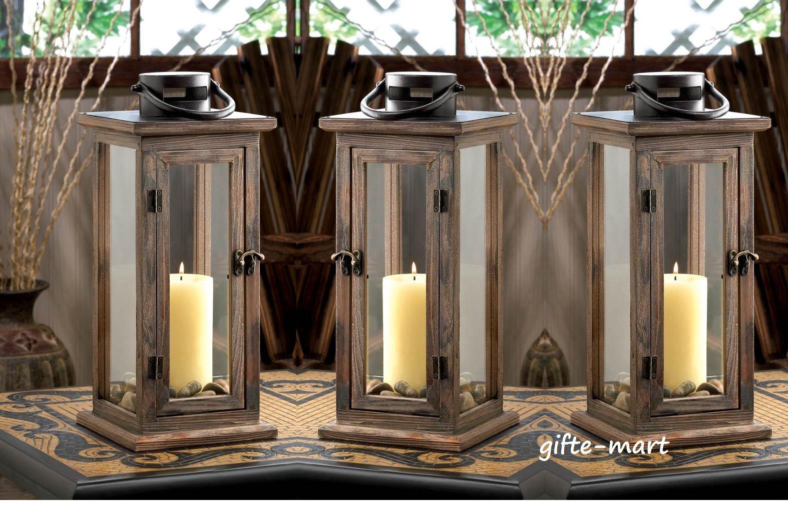 12 large 16  tall Wood metal Candle holder Lantern lamp wedding table decoration