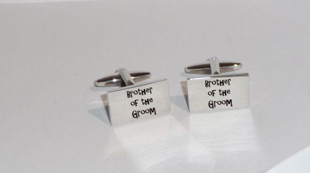 Rectangle Rhodium Wedding Cufflinks - Laser Engraved with Groom, Best Man, Usher