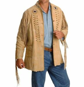 Homme marron western en daim cuir style cow-boy franges AMERICAN Coat