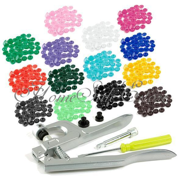 Snap Pliers +150 Set T5 Snap Poppers Resin Buttons Popper New 15 colors Plastic