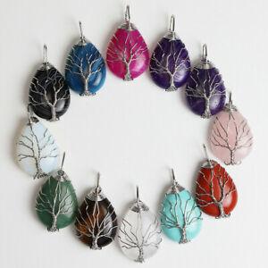 Natural-Gemstones-Crystal-Teardrop-Silver-Wire-Tree-of-Life-Reiki-Chakra-Pendant