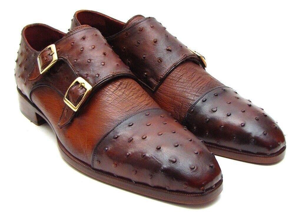 Paul Parkman Men's Genuine Ostrich Double Monkstrap Loafer scarpe Tobacco 43K68